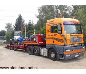 Transport maszyn 24 ton , pomoc drogowa, laweta Poznań Wielkopolska